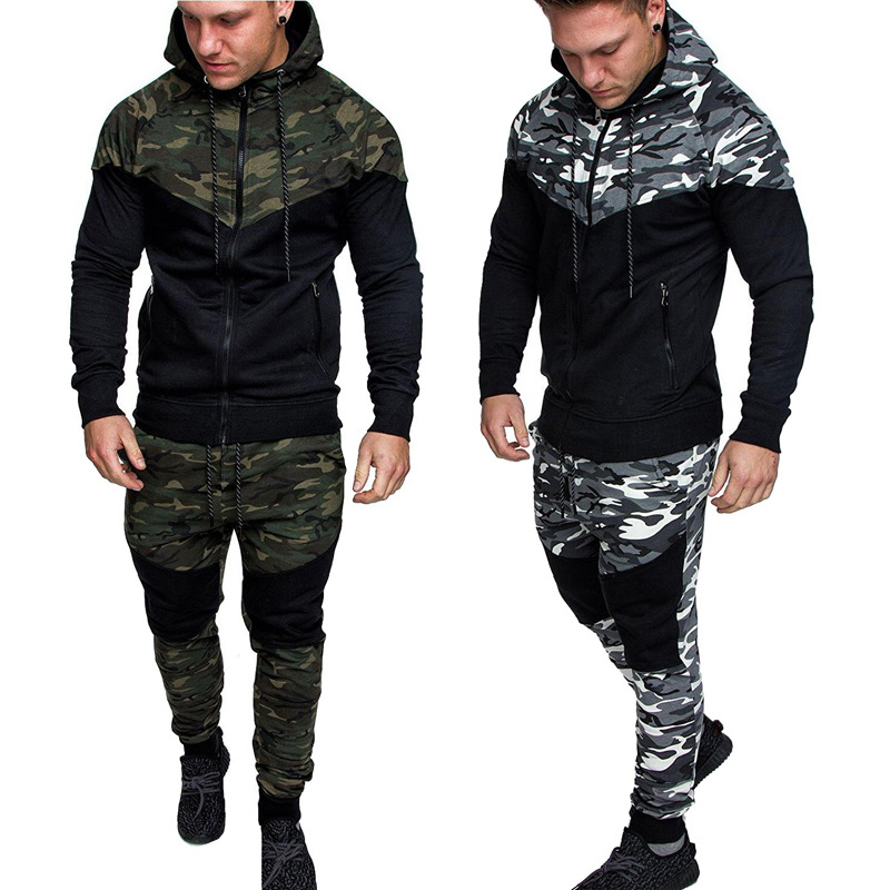 2018 Autumn New Style Men Camouflage Block Casual Slim Fit Sports Set Youth Men's Hoodie Pants