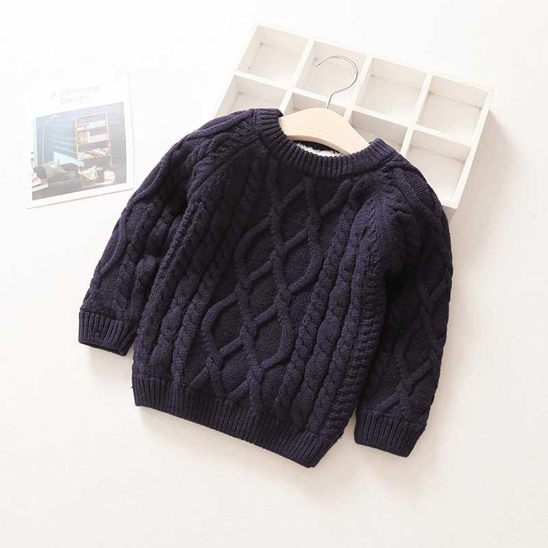 Kids Boys Girls Sweater Autumn Long Sleeve Knitwear Tops Clothes 2021 Winter Thick Warm Kids Add Wool Baby Boy Girls Sweater 4