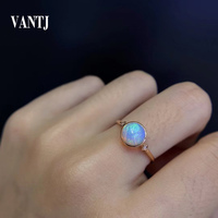 VANTJ Real 10K Gold Ring Sterling Natural Opal Diamond Fine Jewelry For Women Engagement Wedding Party Gift