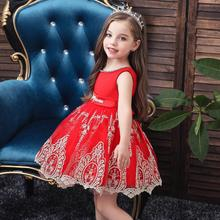 girl dress sleeveless party for kids Flower Lace Birthday Embroidery  tutu