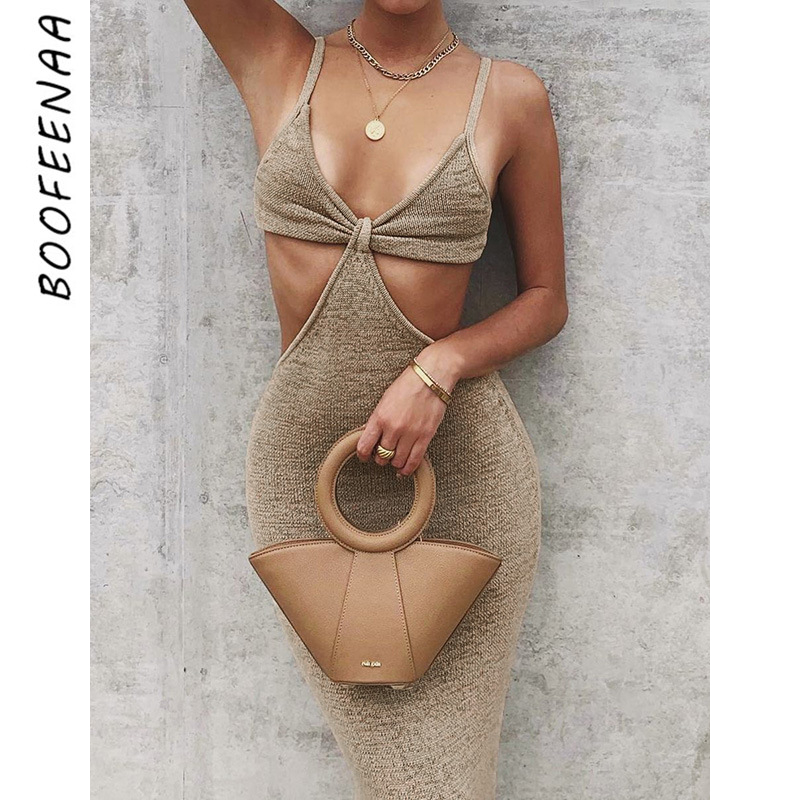 BOOFEENAA Vacation Knitted Maxi Dresses for Women Summer 2021 Elegant Sexy Party Cut Out Backless Bodycon Dress C69 BH27