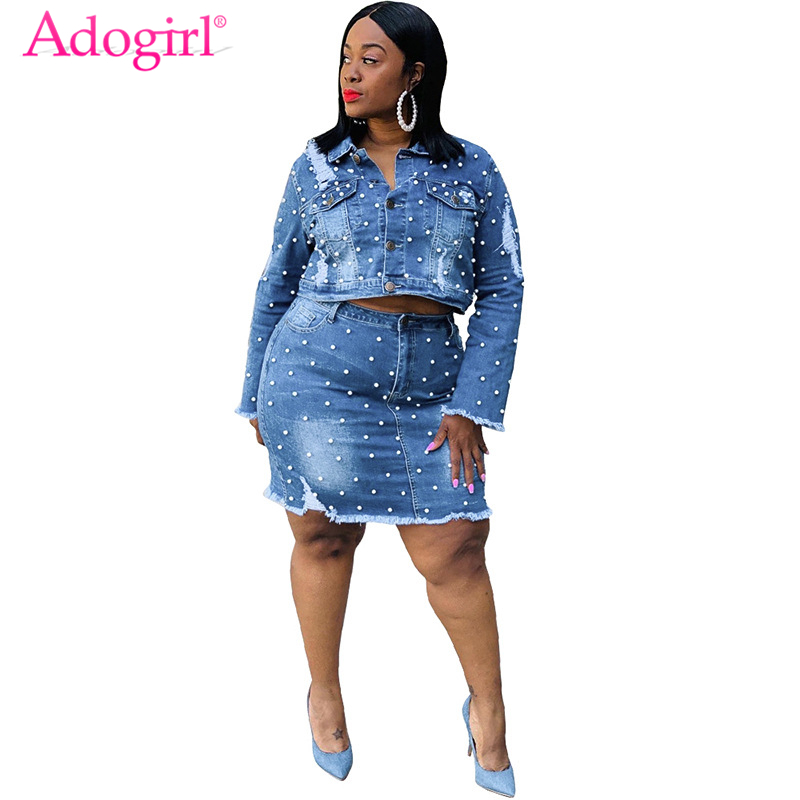 Adogirl XL-5XL Plus Size Women Pearls Jeans Two Piece Set Dress Washed Holes Long Sleeve Short Jacket Bodycon Mini Skirt Suit