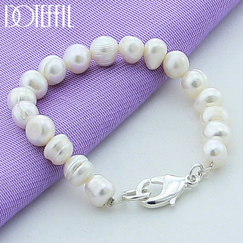 DOTEFFIL Natural White 8mm Pearl Bracelet 925 Sterling Silver Buckle For Woman Charm Wedding Engagement Fashion Party Jewelry(China)