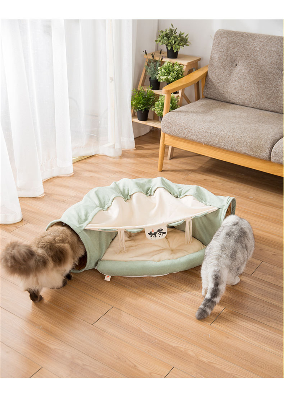 Funny Cat Tunnel bed Collapsible Crinkle Pet tent Kitten Puppy  Ferrets Rabbit interactive Toys 2 holes Tunnel  Pet cat nest 12