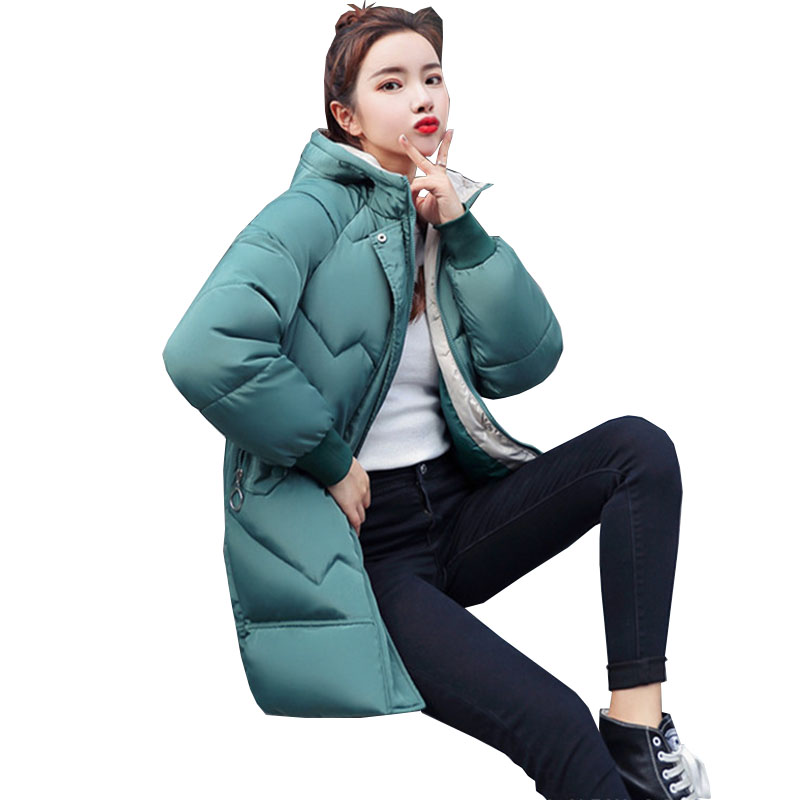2019 New Autumn Winter Short Loose Slim Women Hooded parka zipper Long sleeve keep warm fashion Down cotton clothing Female <font><b>C115</b></font> image