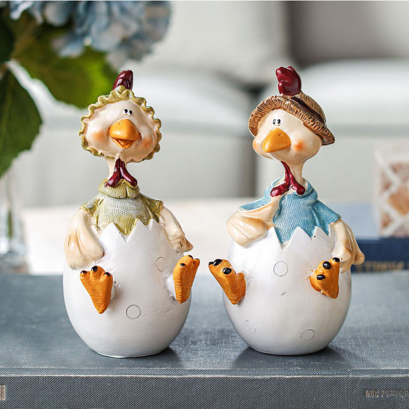 2pcs Nordic Egg Chicken Model Home Decoration Accessories Resin Animal Miniature Figurine Desk Decor Kids Toys Birthday Gifts|Statues & Sculptures| |  - title=