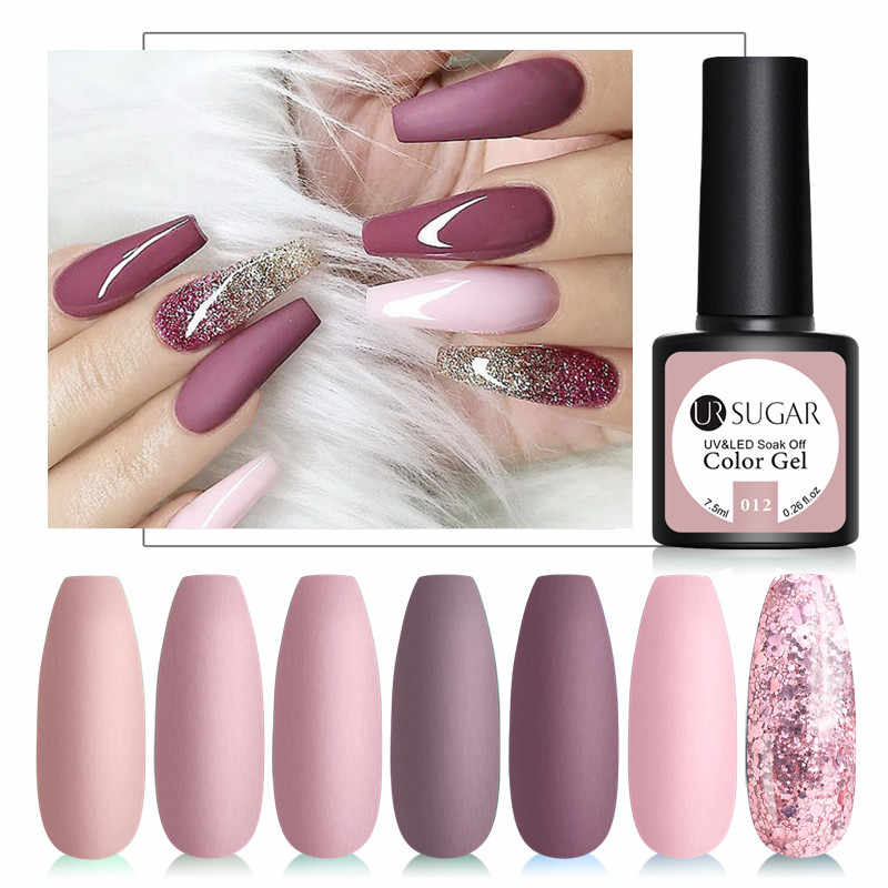 UR GULA 7.5ml Warna kulit Seri Seni Kuku Gel Semi Permanen Matte UV Gel Kuku Rendam Off Kuku gel Varnish Cat Kuku