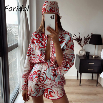 Foridol Print Red Shorts Set Women Vintage Beach Oversized Red Pant Sets Suits Wide Leg Two Pieces Matching Set Female Clothing 1