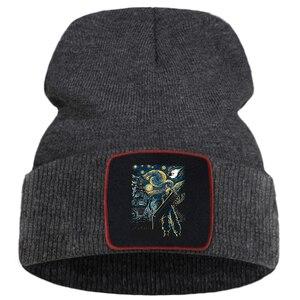 Японская аниме Звездная Ретро Печать новые зимние шапки для женщин сохраняющая тепло повседневная мужская вязаная шапка мягкая модная мужская Осенняя шапочка