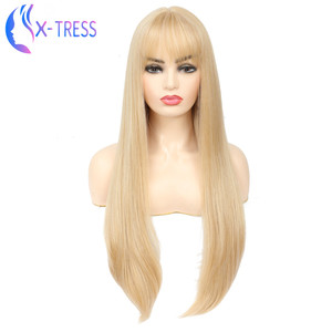X-TRESS Fashion Long Gold Blonde Synthetic Wig For Women Straight Female Hair Wigs With Bangs Cosplay Party Daily False Hair Wig