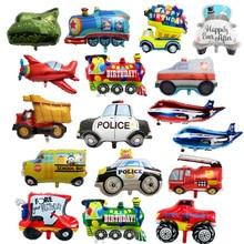 DIY Cartoon Car Balloons Fire Truck Car Train Foil Balloon Ambulance G