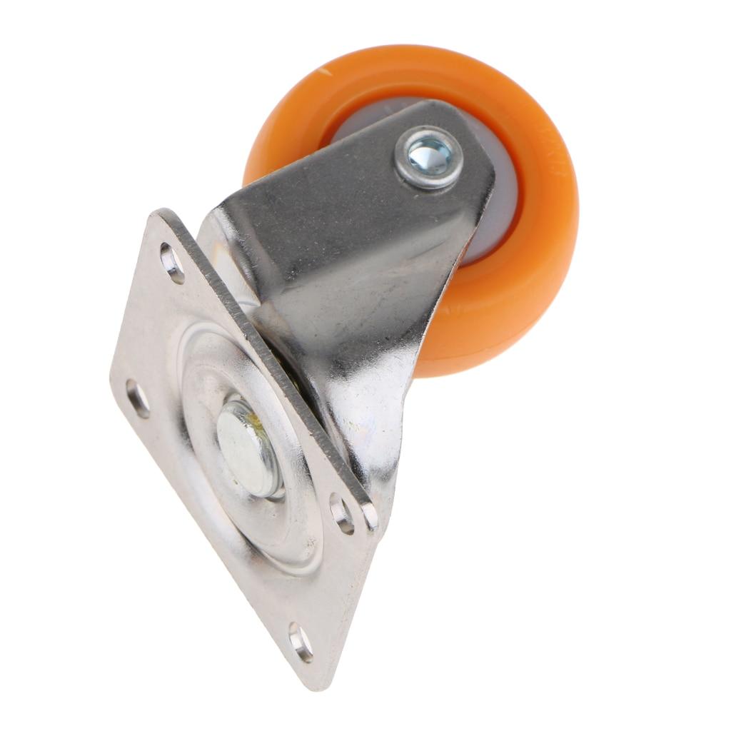 Orange Nylon All Swivel Caster Wheels Plate Castor for Trolleys 32mm, 17kg, 4pcs Set