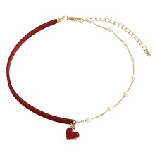 Korean Red Velvet Leather Charm Necklace Statement Pearl Necklace Heart Pendant Choker for Women Jewelry Collares De Moda 2019(China)