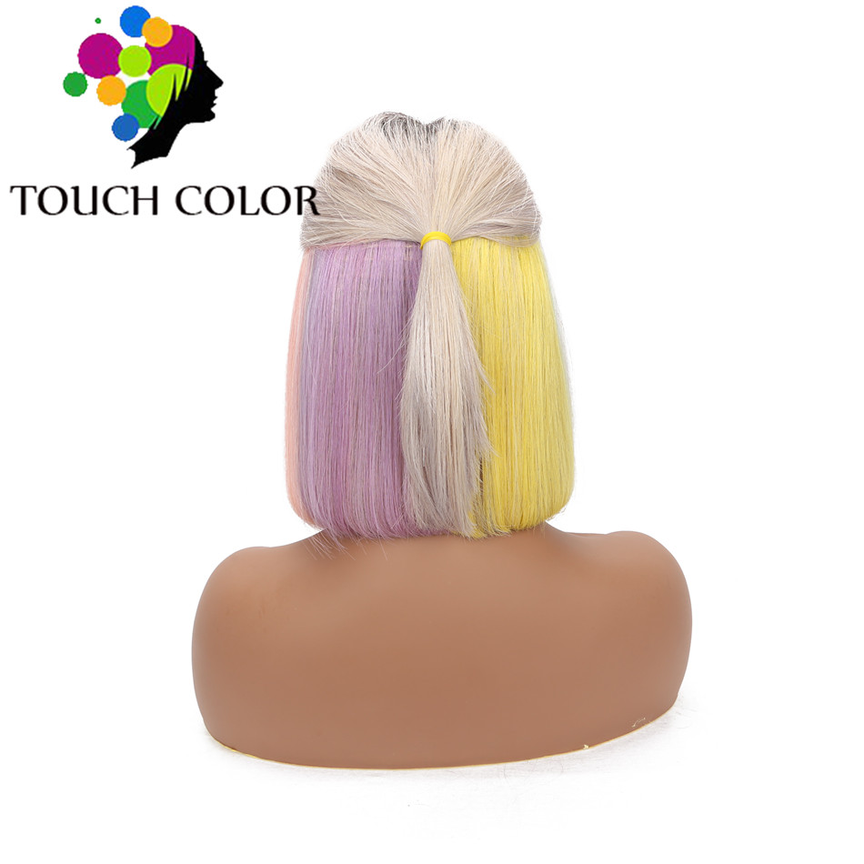Ombre Colorful Straight Short Bob Wigs Indian Hair Lace Front Wig Remy Human Hair 13x4 Lace Wig For Black Women Colored Hair Wig