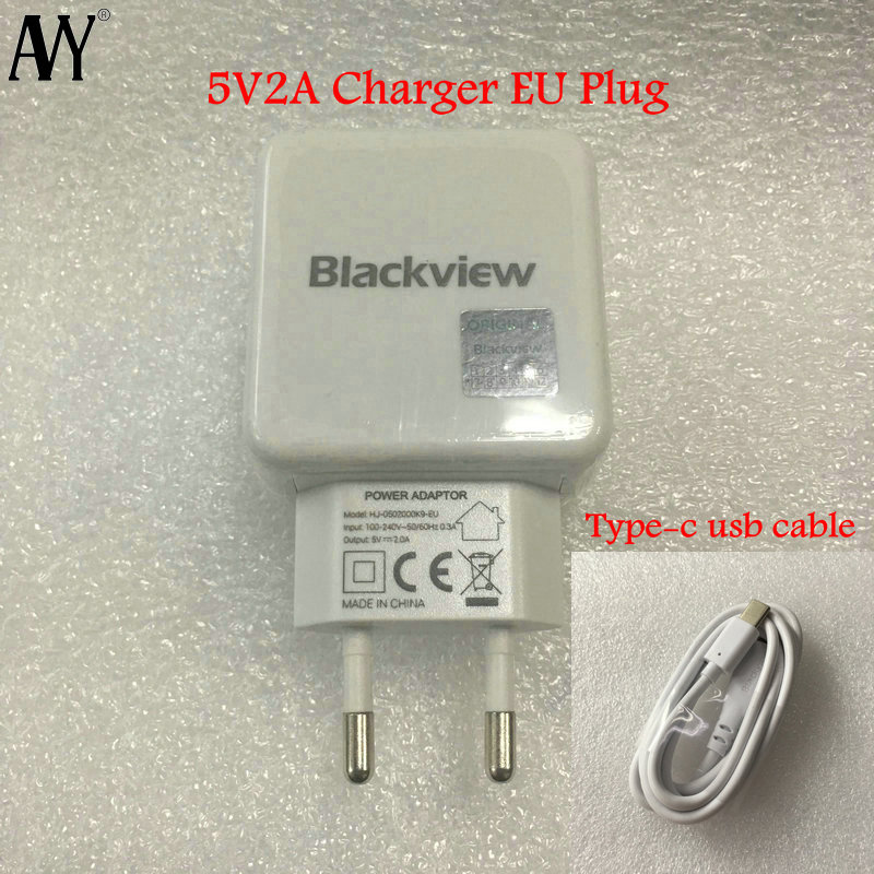 AVY For Blackview A80 pro S8 EU Plug 5V2A Travel Charger Connector with Type C Cable Extended version Type-C Cable For S8 pro