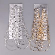 12 пар, набор серег-колец, большие круглые серьги, модное ювелирное изделие для женщин, девушек, стимпанк, клипсы для ушей, корейские серьги
