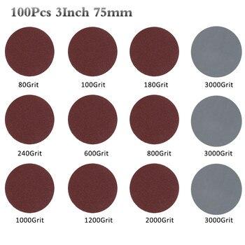 100 шт 3 дюйма 75 мм наждачная бумага 80-3000 шлифовальный диск Набор для полировки очистки абразивный инструмент