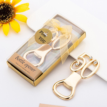 50Pcs 50 Wedding Anniversary Gifts Gold Metal Beer Wine Bottle Opener For Wedding Souvenirs Birthday Party Favors With Box