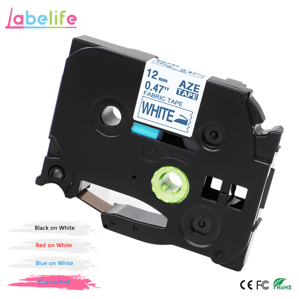 Labelife 1pcs TZe-FA3 12mm Navy Blue On White Fabric Iron-on Tape For Brother P-touch TZ-FA3 TZeFA3 TZFA3 FA3 For Label Printer