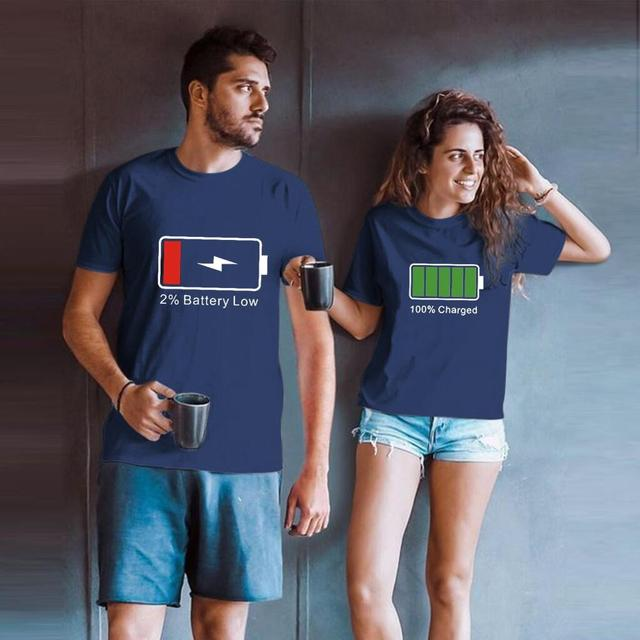 Battery Couple T Shirts For Lovers 2020 Casual Matching Couple Clothes