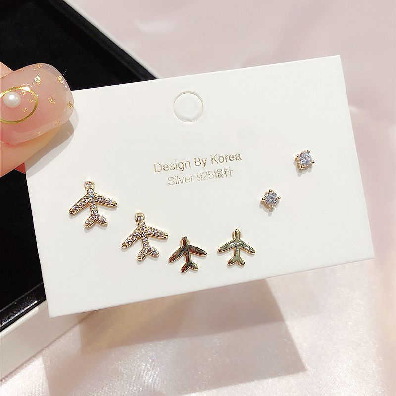 Exquisite 3 Pairs Small CZ Crystal Plane Stud Earrings Gold Color Cubic Zircon Earrings for Women Girls