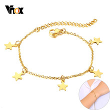 Vnox Elegant Stars Charms Bracelets for Women Silver Gold Tone Solid Stainless Steel Link Chain Lady Party Wedding Jewelry(China)