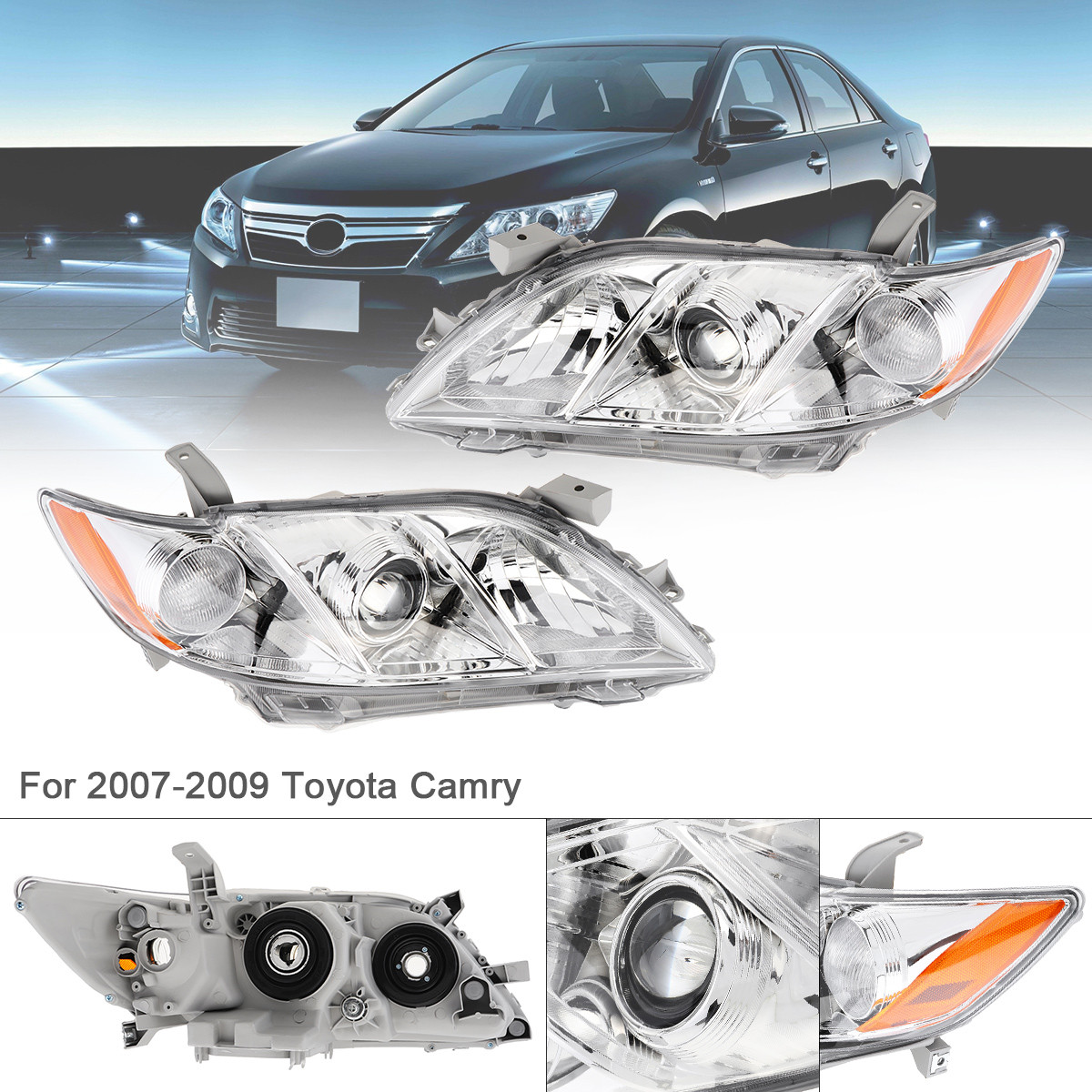 For 2010-2011 Toyota Camry SE Black Projector Headlights Replacement Left+Right
