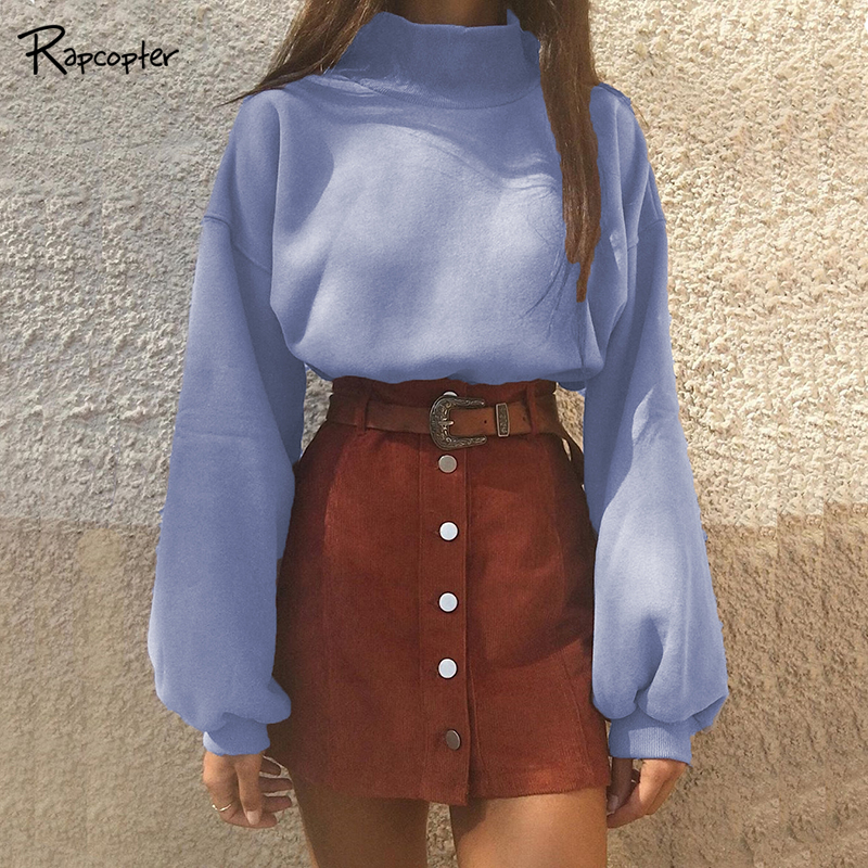 Rapcopter Fashion Winter Turtleneck Women Sweaters Autumn Warm Lantern Sleeve Knitted Short Sweater Vintage Ladies Loose Sweater