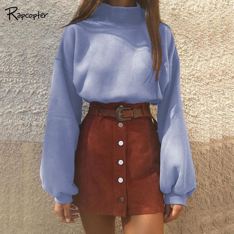 Rapcopter Fashion Winter Turtleneck Women Sweaters Autumn Warm Lantern Sleeve Knitted Short Sweater Vintage Ladies Loose Sweater