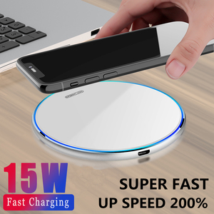 15W Qi Wireless Charger For iPhone 12 11 Pro X/XS Max XR 8 Plus Mirror Fast Wireless Charging Pad For Samsung S9 S10+ Note 9 8