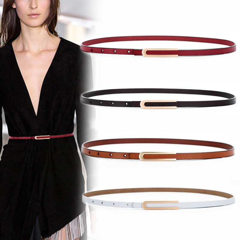 Cowhide belts for women high quality thin genuine leather belt dress fashion gold alloy buckle strap jeans soft cow waistbands