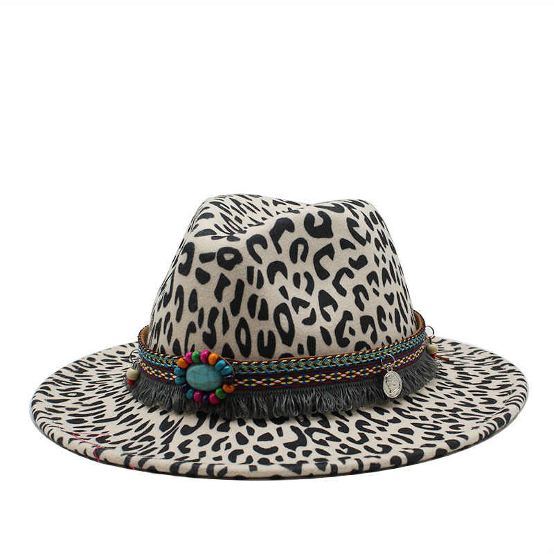 2020 Baru Musim Dingin Fashion Leopard Percetakan Jazz Fedoras Pria Wanita Vintage Trilby Cap Leisure Big Penuh Merasa Panama Hat
