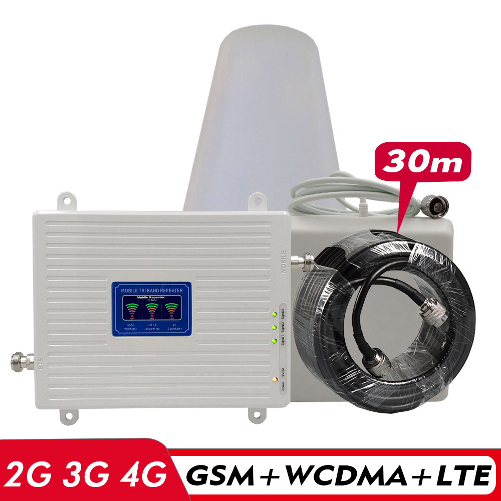 2G 3G 4G Tri-Band Booster GSM 900+UMTS/WCDMA 2100(B1)+FDD LTE 2600(B7) Mobile Signal Repeater Signal Amplifier Antenna Set #30M