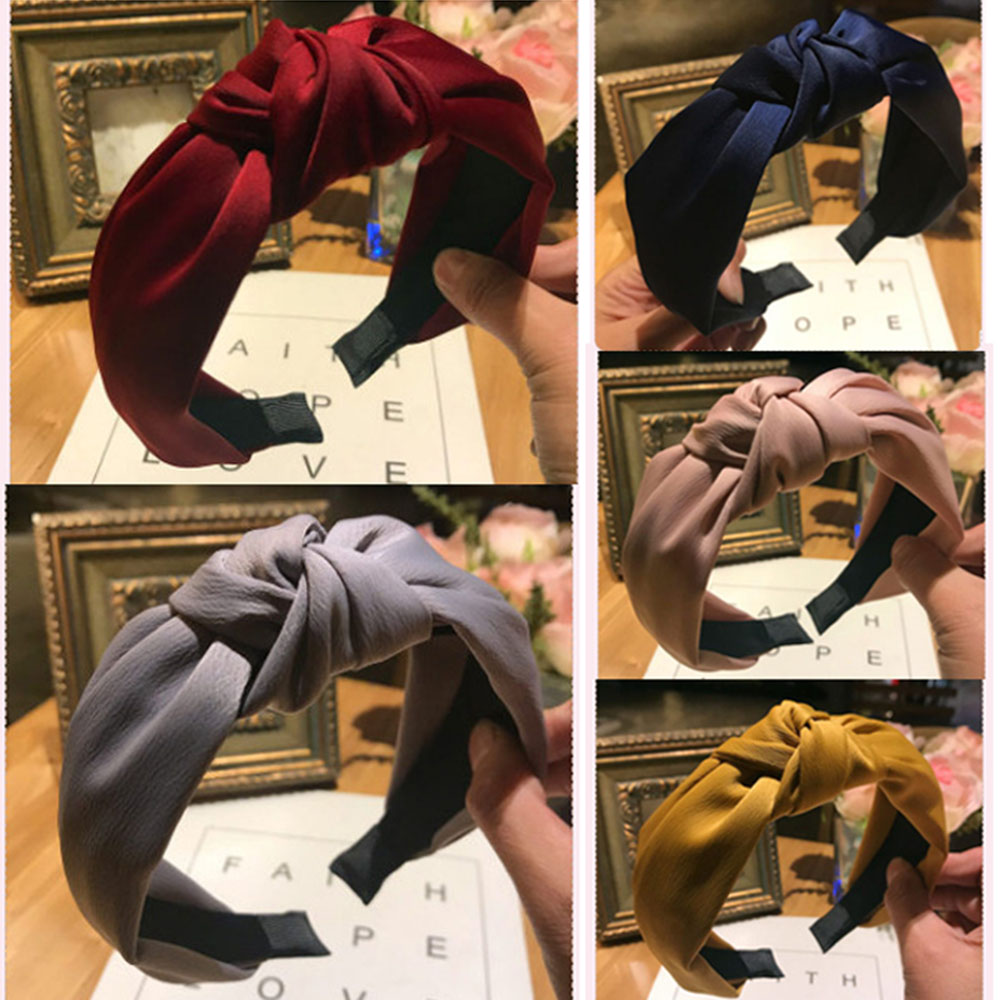 1PC Women's Cross Knot Hairband Wide Alice Band Headband Headwear Spring Autumn Vintage Girls Korean Style Hair Accessories