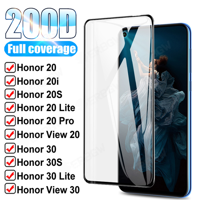 200D полное покрытие закаленное стекло для Huawei honor view 20 30 V20 V30 защита экрана Honor 20 Pro 30 Lite 20i 20S 30 S стеклянная пленка