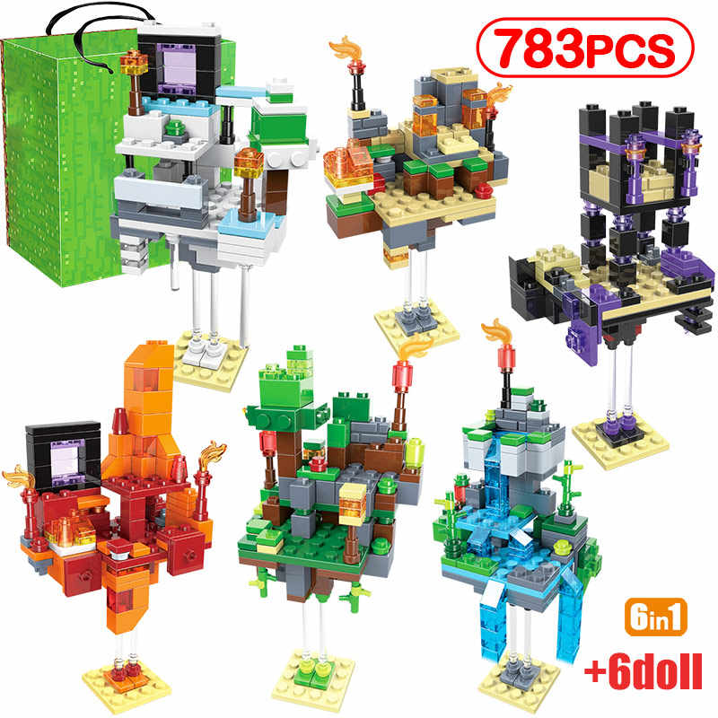 783pcs city of Sky Building Blocks compatible legoing My World Zombie Figures sets bricks Enlighten Toys for kids