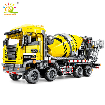 HUIQIBAO 1143pcs Concrete Mixer Car Building Blocks Technic Engineering Truck City Construction Bricks Toys For Children Boy недорого