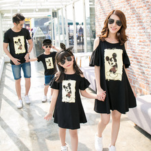Pure cotton family matching clothes mother daughter dresses summer t shirt mommy and me son outfits mickey mouse clothing
