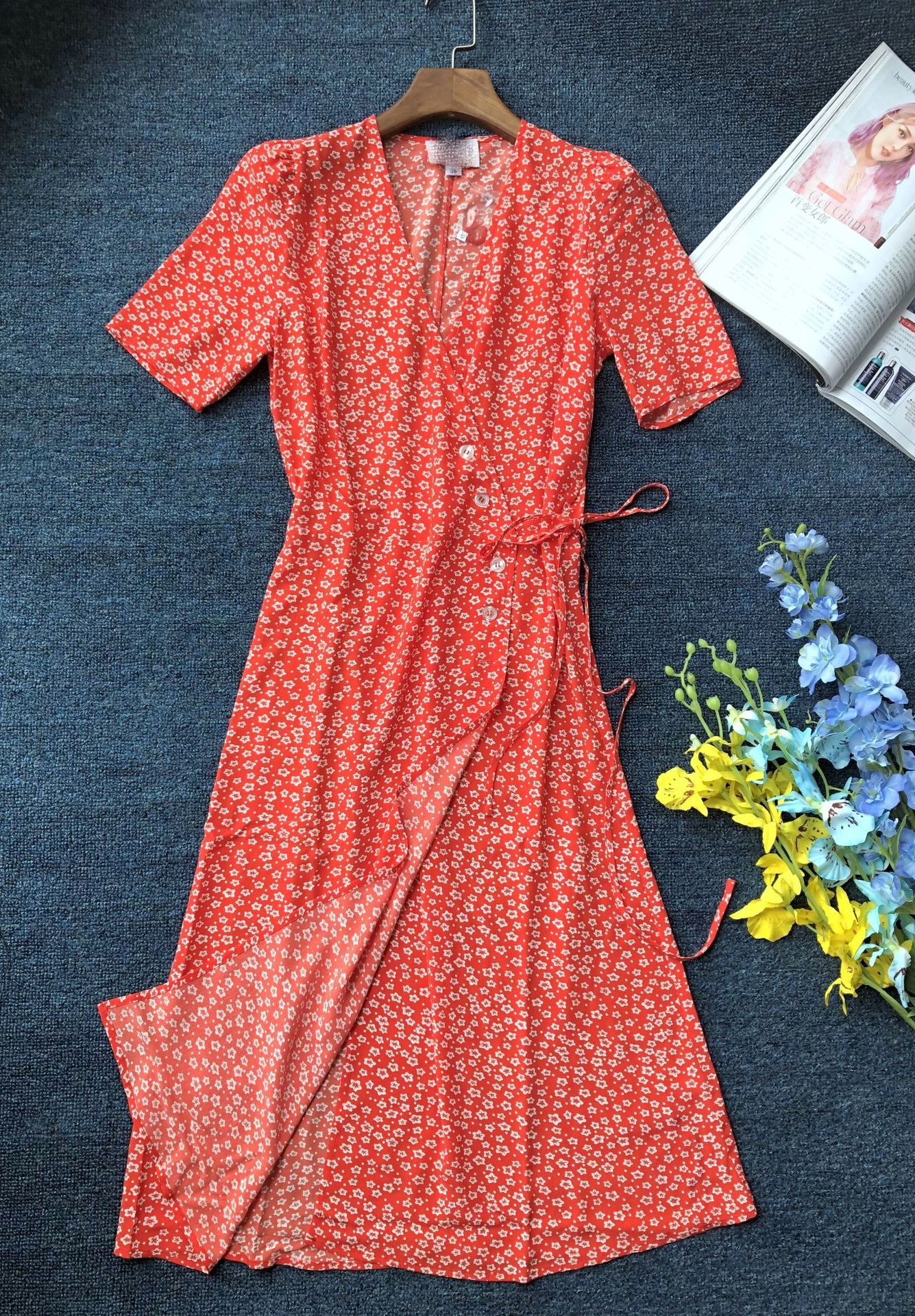 Women Dress Button Wrap Dress