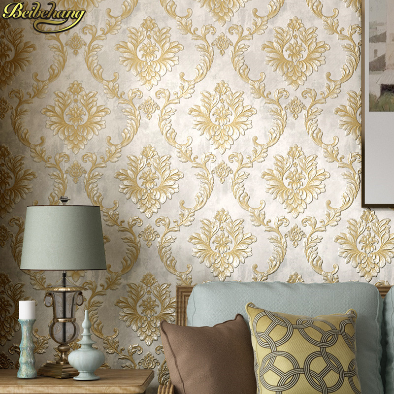 Beibehang Embossed Damascus Wall Papers Home Decor Beige Wallpapers For Living Room Background Wall Paper 3d Wallpaper Roll