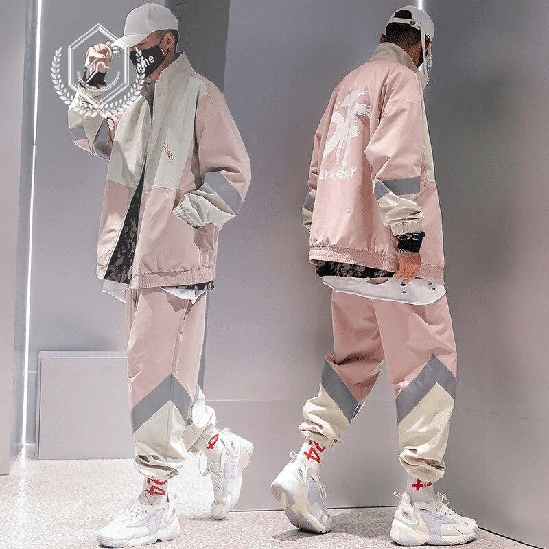 Men Fashion Loose Print Casual Hip Hop Sets