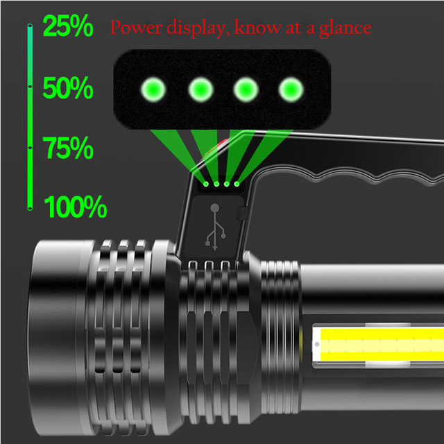 Portable Powerful LED Flashlight Portable Mini Searchlight P500 Torch USB Rechargeable Waterproof Spotlight for Fishing Lantern 4
