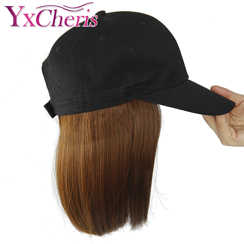 Synthetic Wig Hat Baseball Cap With Short Straight Blonde Wig For Women Female Heat Resistant Fiber Pixie Cut Short Wig