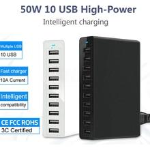 50 واط 10 شاحن يو اس بي متعددة USB محول للشحن الذكي سطح المكتب تهمة شحن سريع 10 ميناء متعدد شاحن يو اس بي وحدة شاحن