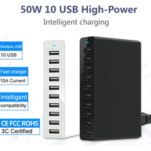 50W 10 USB şarj aleti çoklu Usb şarj adaptörü akıllı masaüstü şarj hızlı şarj 10 Port çoklu USB şarj aleti şarj istasyonu