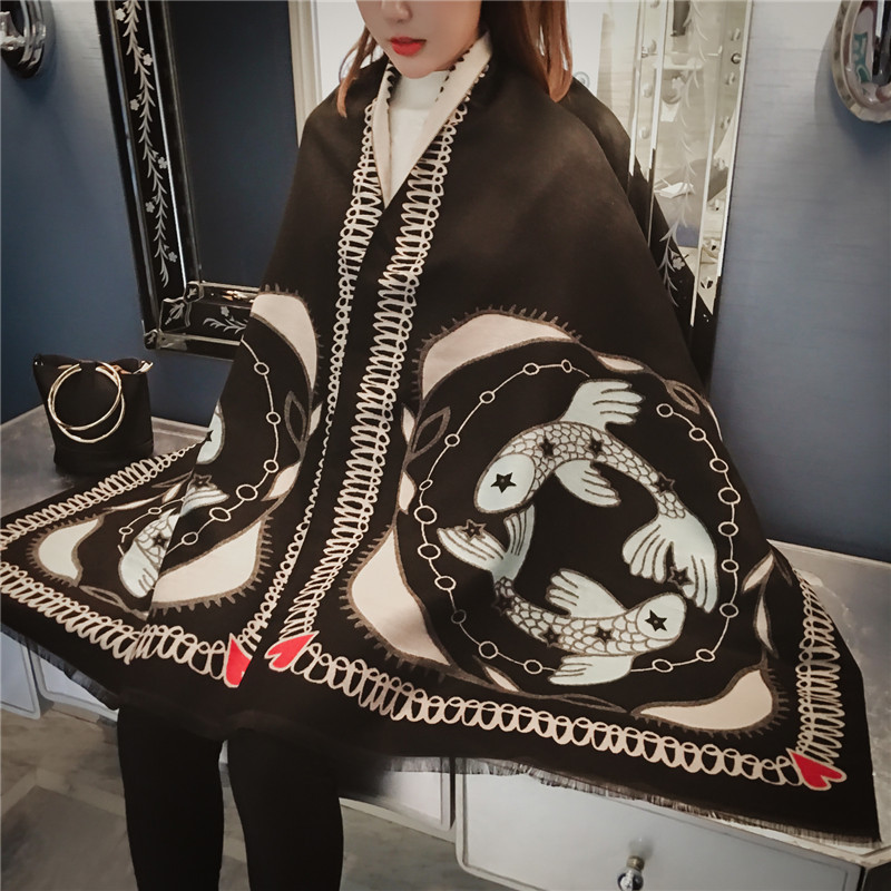 2019 winter scarf women shawls wrap fashion Zodiac constellation warm thick cashmere scarves lady female bandana quality Tassel in Women 39 s Scarves from Apparel Accessories