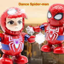 Dance Spider-man Iron Man Action Figure Dancing Marvel the Avengers wIth Music Flashlight Interesting Toys for Children Boy Gift