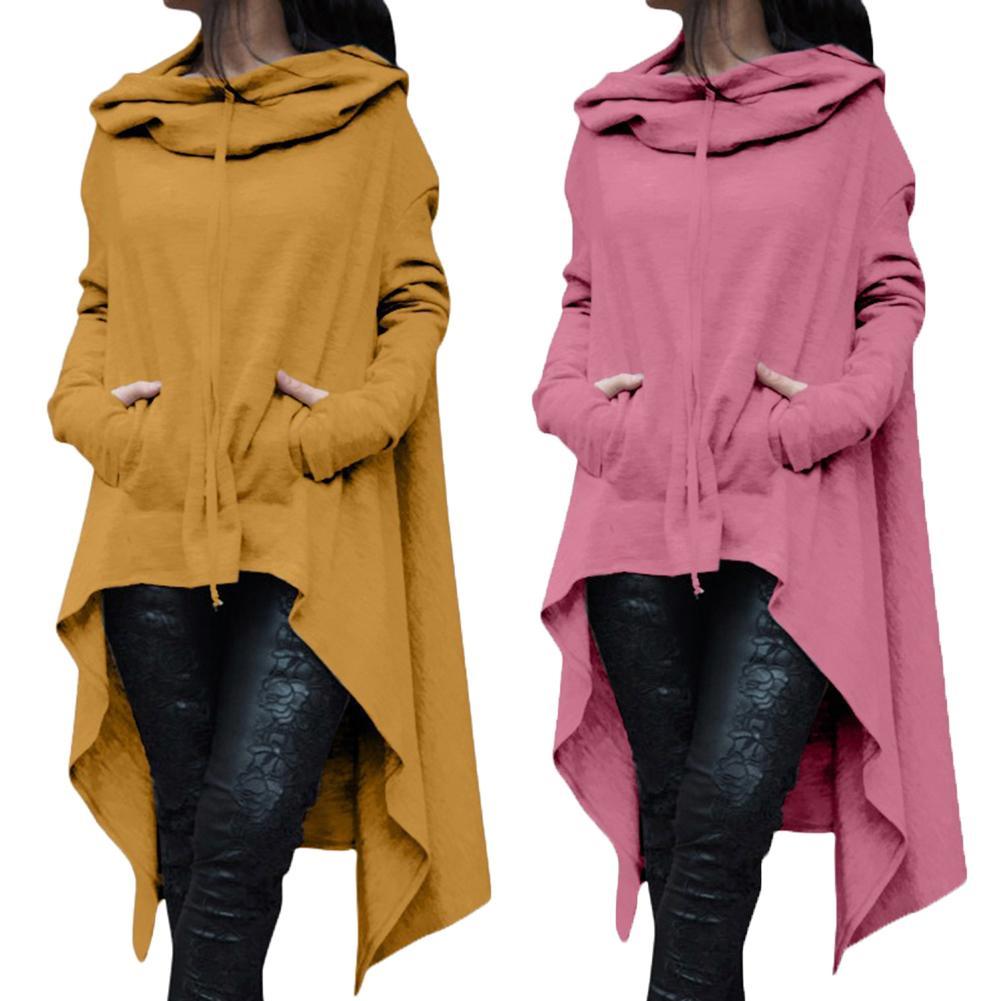 Hot Plus Size Lady Solid Color Long Sleeve Asymmetric Hem Fishtail Hoodie Sweatshirt  Asymmetric Hem Fishtail Hoodie Sweatshirt