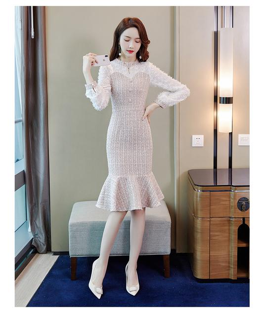 Vintage Luxury Dress Spring Tassel Long Sleeve Mermaid Dress