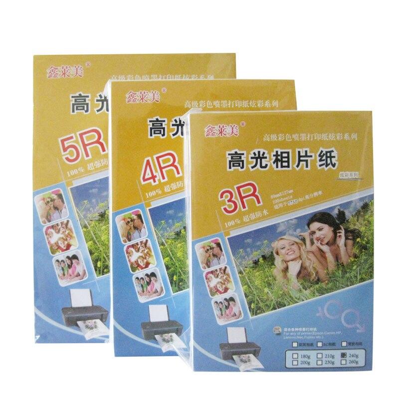 Photo Paper Papel Fotografico Para Impresora Photo Printer 3R 4R 5R Color Photo Paper 180/210/240g High Gloss Waterproof Ink Jet